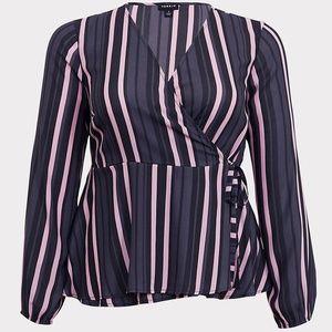 TORRID Purple Stripe Wrap Blouse 3XL